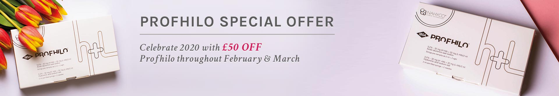 Profhilo special offer. Celebrate 2020 with £50 off Profhilo throughout February & March.